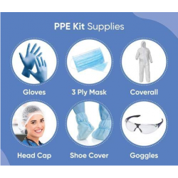 PPE kit with 90 GSM cover all suit